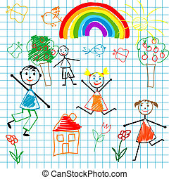 Doodle children on math page background