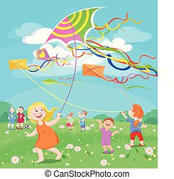 doodle children play with kites on a clearing