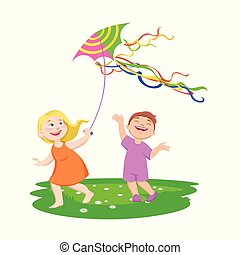 children play with kites on a clearing