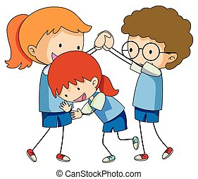 Doodle children playing on white background