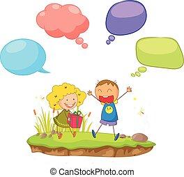 Doodle children with  speech balloon