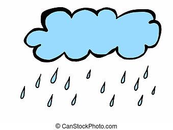 doodle, chmura, z, deszcz