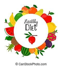 doodle, chorągiew, szablon, owoce