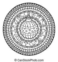 Doodle christmas ball on ethnic mandala.