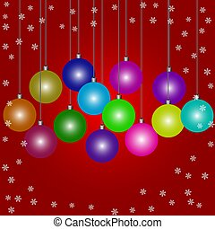 Doodle Christmas baubles on red background a