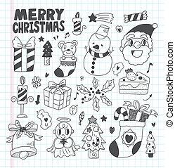 Doodle Christmas icon set
