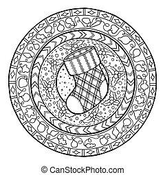 Doodle Christmas sock on ethnic mandala. - New Year theme....