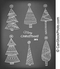 Doodle Christmas trees - Set of 6 doodle Christmas trees...