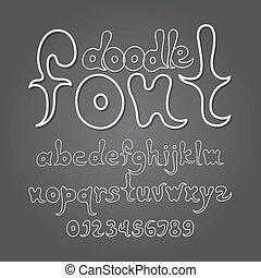 doodle, cijfer, vector, abstract, alfabet