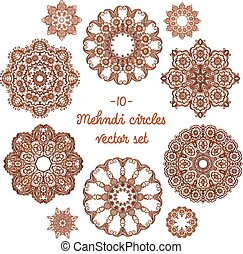 Doodle circles set in indian mehndi style