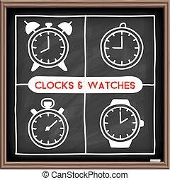Doodle clock icons set