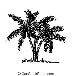 doodle coconut tree icon hand draw illustration design