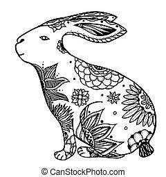 doodle, coelho, ilustração
