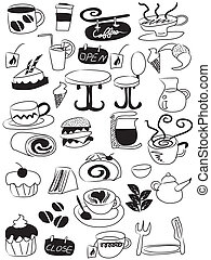 doodle coffee and tea icon set - doodle drawing of coffee...