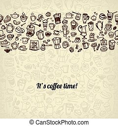 coffee and tea seamless background