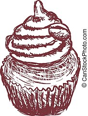 doodle coffee cupcake