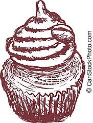 doodle coffee cupcake