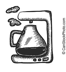 doodle coffee maker, illustration