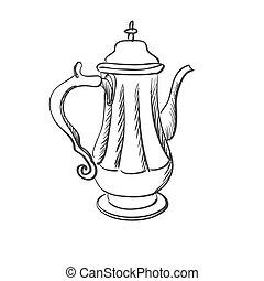 doodle coffee pot, excellent vector illustration, EPS 10