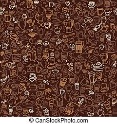 doodle coffee seamless background