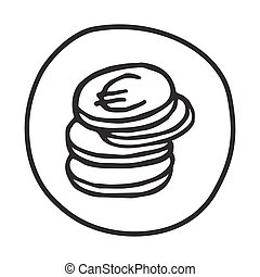 Doodle Coins icon. Infographic symbol in a circle. Line art...