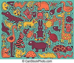 Doodle color poster with hand-drawn zoo animals.
