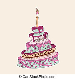 doodle colorful birthday cake with flowers and candle