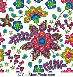 Doodle colorful rainbow colors floral hand draw pattern. Vector illustration.