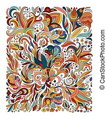 Doodle colorful rainbow floral hand draw pattern. Vector illustration.