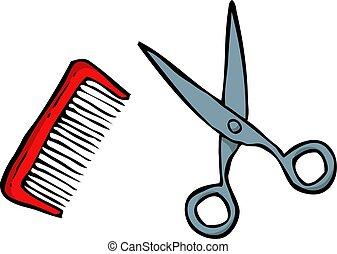 Doodle comb and scissors