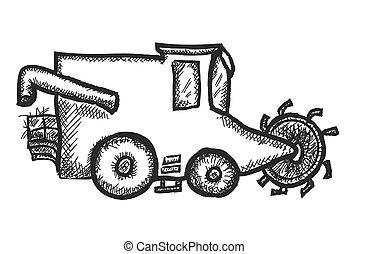 doodle combine harvesting wheat