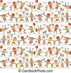 doodle., come, bambini, disegno, capretto, cartone animato, felice