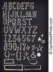 Doodle Complete Alphabet Set On Chalkboard - Illustration of...