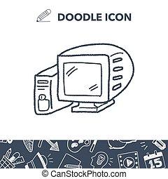 doodle, computer, affattelseen
