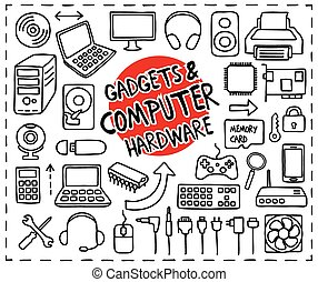 Doodle Gadgets and Computer Hardware icons set. Freehand drawn graphic elements.