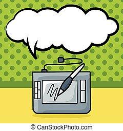 doodle, computer, udtrækning planke