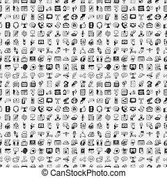 doodle, comunicação, seamless, padrão