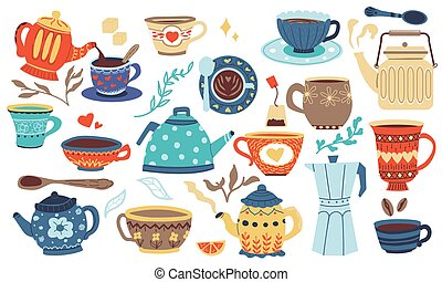 Doodle cookery. Cartoon porcelain bowl, mug and cup for hot beverage. Ceramic jug, kettle and metal coffee pot. Kitchen colorful cozy dishes. Tableware collection, vector pottery set