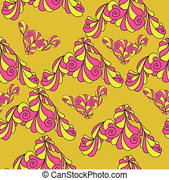 Doodle corner seamless pattern with curls, yellow-pink spiral elements on an orange background