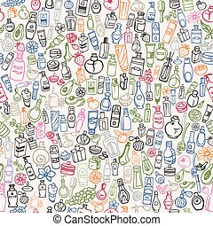 doodle cosmetic products seamless background