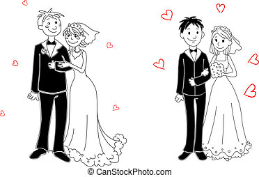 Doodle couple on wedding ceremony - Doodle couple of bride...