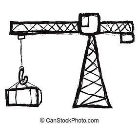 doodle crane working vector