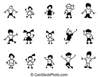 doodle, crianças, ícones