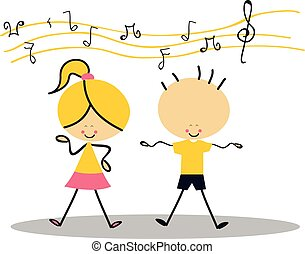 doodle, crianças, cantando