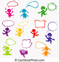 doodle, crianças, fundo