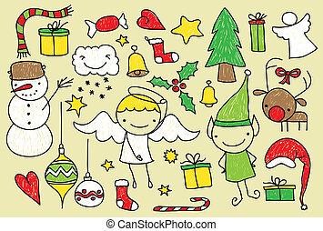 doodle, crianças, natal