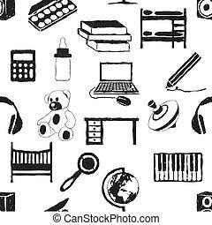 doodle, crianças, sala, seamless, padrão