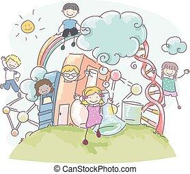 doodle, crianças, stickman, livro, ciência