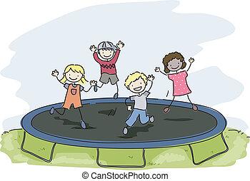 doodle, crianças, trampoline