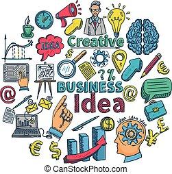 doodle, criativo, ícone